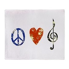 peace, love ,music D Throw Blanket