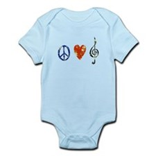 peace, love ,music D Infant Bodysuit