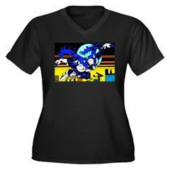MoonShadow - Women's Plus Size V-Neck Dark T-Shirt