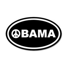 Obama Peace Black Euro 20x12 Oval Wall Peel