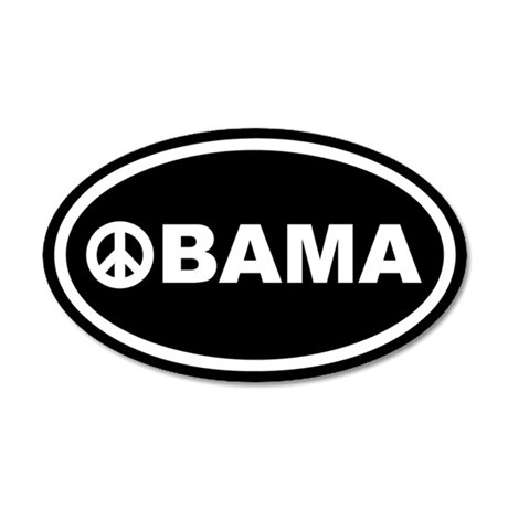 Obama Peace Black Euro 35x21 Oval Wall Peel