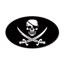 Eyepatch Skull & Crossed Swords 35x21 Oval Wall Pe