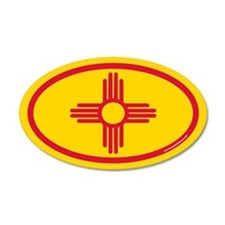 New Mexico Flag Euro 20x12 Oval Wall Peel
