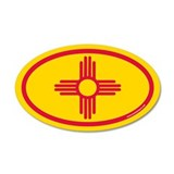 New Mexico Flag Euro 35x21 Oval Wall Peel