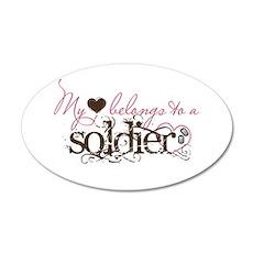 My Heart Belongs to a Soldier 20x12 Oval Wall Peel