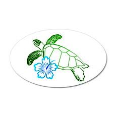 Sea Turtle Hibiscus Blue 35x21 Oval Wall Peel