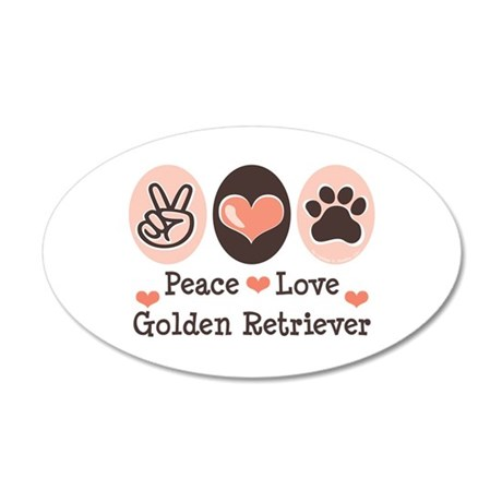 Peace Love Golden Retriever 35x21 Oval Wall Peel