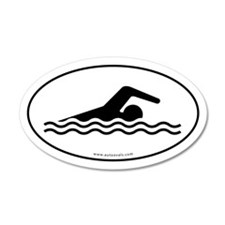 Swimming Auto Decal -White (Oval)
