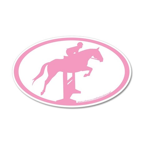 Hunter Jumper Over Fences (pink) 20x12 Oval Wall P