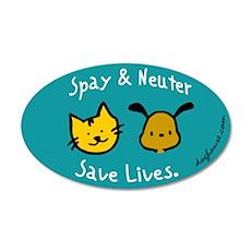 Save Lives Spay & Neuter 20x12 Oval Wall Peel