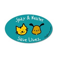 Save Lives Spay & Neuter 20x12 Oval Wall Peel