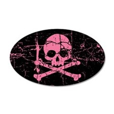 Worn Pink SKull 20x12 Oval Wall Peel