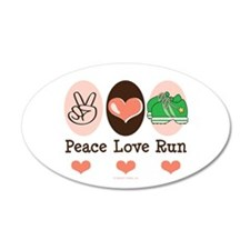 Peace Love Run Runner 35x21 Oval Wall Peel