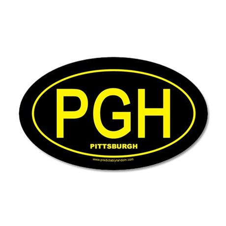 Pittsburgh - Gold on Black Oval - Sticker