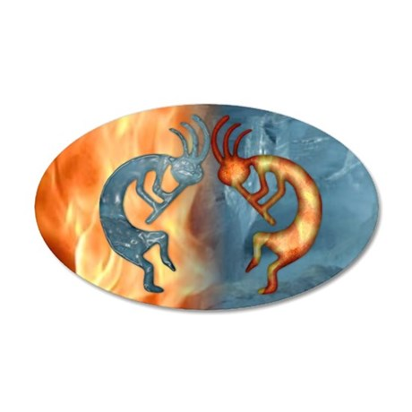 Kokopelli Fire & Ice (NEW) 20x12 Oval Wall Peel