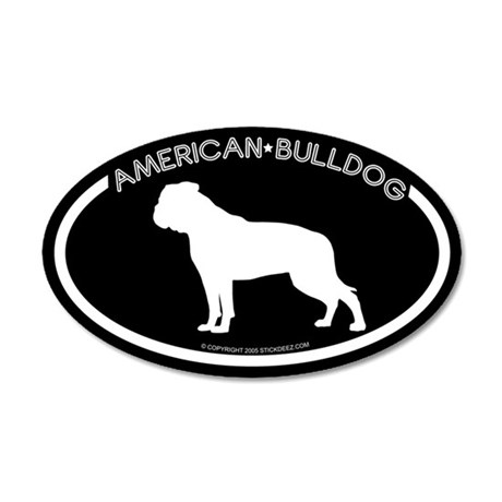 """American Bulldog"" Black 35x21 Oval Wall Peel"