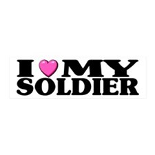 I Love (pink heart) My Soldier 20x6 Wall Peel
