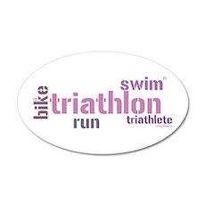 Triathlon Text - Pink 35x21 Oval Wall Peel