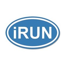 iRUN I RUN Blue Euro 20x12 Oval Wall Peel