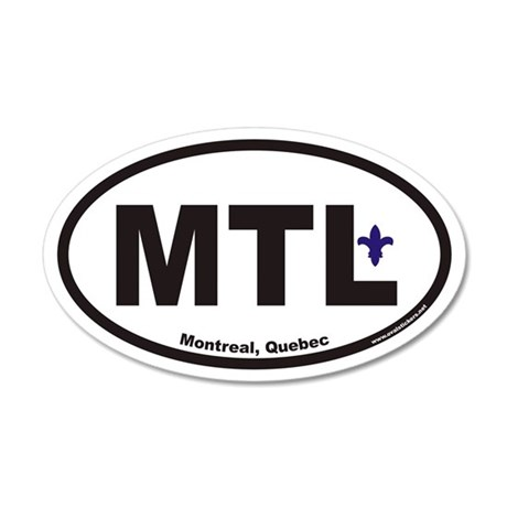 Montreal Quebec MTL Euro 20x12 Oval Wall Peel