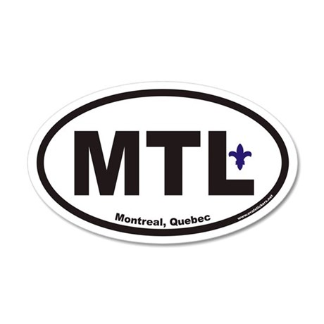 Montreal Quebec MTL Euro 35x21 Oval Wall Peel