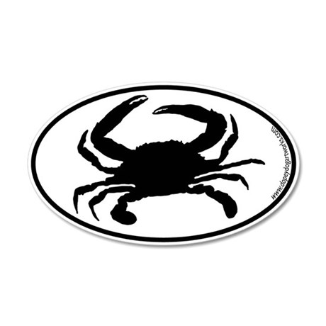 Crab SILHOUETTE 35x21 Oval Wall Peel