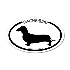 """Dachshund"" White 20x12 Oval Wall Peel"