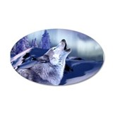 Winter Wolf 35x21 Oval Wall Peel