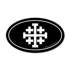 Jerusalem Cross Sticker -Black (Oval)