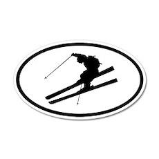Skiing 20x12 Oval Wall Peel