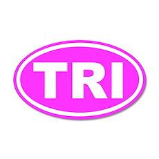 TRI Triathalon Pink Euro 20x12 Oval Wall Peel