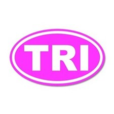 TRI Triathalon Pink Euro 20x12 Oval Wall Peel