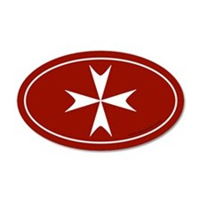 Maltese Cross 35x21 Oval Wall Peel -Red (Oval)