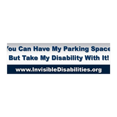 Take My Disability 36x11 Wall Peel Sticker (Bumpe
