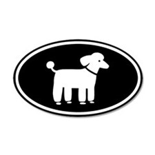 White Poodle 35x21 Oval Wall Peel