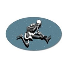 Skeleton Guitarist Jump 20x12 Oval Wall Peel