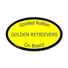 Spoiled Golden Retrievers On Board 35x21 Oval Wall