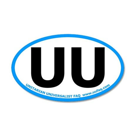 UU Oval Car Sticker with UU FAQ website