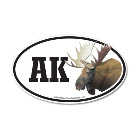 AK Alaska Moose Decal 35x21 Oval Wall Peel
