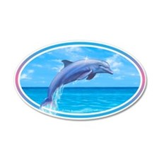 Dolphin car bumper sticker decal 35x21 Oval Wall P
