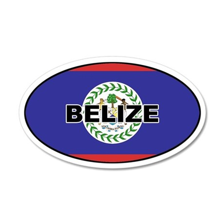 Belize Flag 35x21 Oval Wall Peel