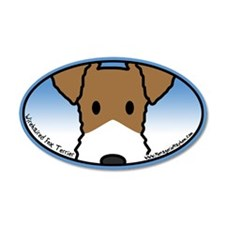 Anime Wirehaired Fox Terrier 20x12 Oval Wall Peel