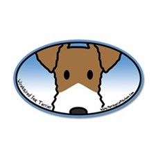 Anime Wirehaired Fox Terrier 35x21 Oval Wall Peel