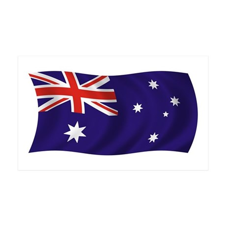 Waving Australian Flag 35x21 Wall Peel