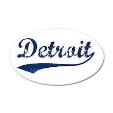Detroit Script Distressed 35x21 Oval Wall Peel