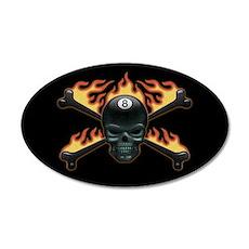 Flaming 8 Skull 35x21 Oval Wall Peel