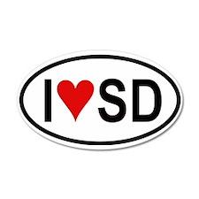 I Love San Diego 35x21 Oval Wall Peel