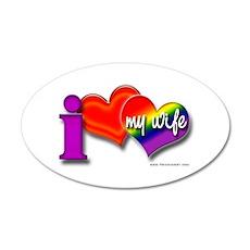 I love my wife - gay 20x12 Oval Wall Peel