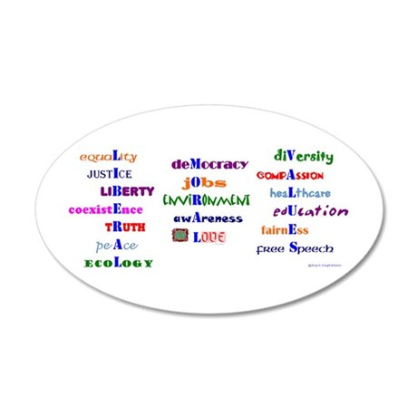 Liberal Moral Values 20x12 Oval Wall Peel