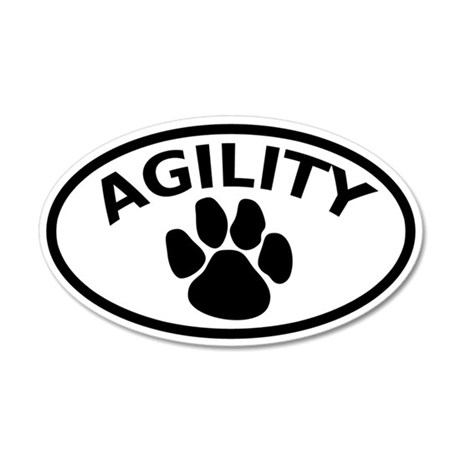 Dog Agility Paw 35x21 Oval Wall Peel